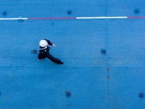 Mariner walking the dock